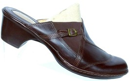 Clarks Artisan Women's Brown Leather Slip On Heeled Mule Shoes Size 9 M - $26.00