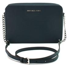 Michael Kors Navy Dark Blue Leather Chain Shoulder Cross Body Bag Medium... - $226.28