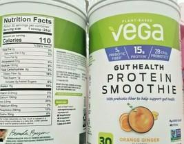 2 PACK VEGA GUT HEALTH PROTEIN SMOOTHIE ORANGE GINGER FLAVORED DRINK MIX  - $51.48