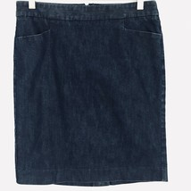 Express Women Skirt Denim Chambray Straight Button Split Pocket Size 4 - $26.55