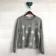 Gap Large Designed & Crafted Gray Silver Foil Print Raw Hem Pullover Sweater Top - $18.32