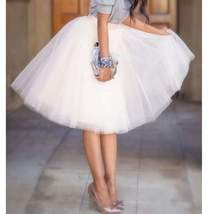Layered Pleated Women Knee Length Tulle Skirts - $32.04