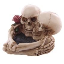 Skull  Love Never Dies Eternal  Skeleton Couple With Rose Ashtray Resin ... - $27.10