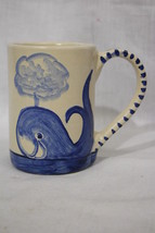 """RARE Vintage DORCHESTER POTTERY Hand Painted Blue WHALE 4.5"""" Tall Coffee... - $149.99"""