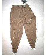 New Womens Designer Pants Italy 40 2 4 Brown Viscose Gaetano Navarra Jogger NWT  - $465.00