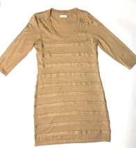 Calvin Klein Dress Sweater Womens Large Long Sleeve Sheath Stretch Tan G... - $22.02