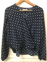 Abercrombie & Fitch Top Blue White Print Wrap Front Surplice High Low Blouse S - $24.95