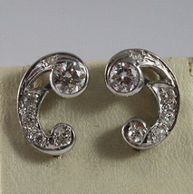 SOLID 18K WHITE GOLD EARRINGS, ETHNYC STYLE WITH DIAMONDS, DIAMOND MADE IN ITALY image 1
