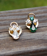 Crystal Angel Lapel Pin, Choose From Green or Clear - $6.00