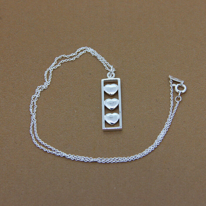 Primary image for Rectangle Heart Pendant Necklace 925 Sterling Silver NEW