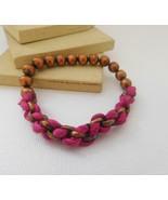 Retro Copper Bead Hot Pink Fabric Chain Braid Stretch Bracelet B40 - $11.89