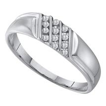 10k White Gold Mens Round Channel-set Diamond Diagonal Triple Row Weddin... - $297.59