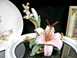 vintage Porcelain painted ORCHID and  Butterfly Figurine painted statue ... - £38.67 GBP