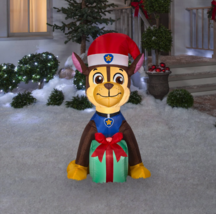 4' Nickelodeon Paw Patrol Christmas LED Chase with Present Inflatable Yard Decor image 1
