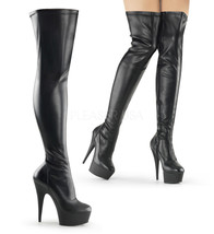 """PLEASER DEL3000/B/PU Sexy 6"""" Heel Matte Black Platform Thigh High Stripp... - $79.95"""
