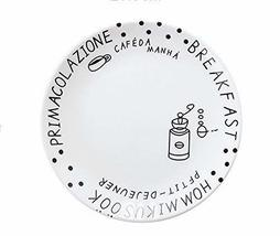 Gentle Meow 8 Inch Creative Cartoon Ceramic White Round Dishes, European Fonts A - $19.17