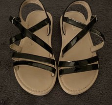 The Childrens Place Youth Girls Sandals (SIZE 10) Black + Tan - $12.87