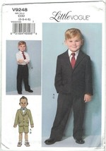 Little Vogue 9248 Boys Suit Jacket, Pants, Shorts Pattern Choose Size Uncut - $12.99