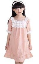 Lovely Dots Girls Nightgown Summer Short Sleeve Nightdress Babydoll,PINK,5-7Y