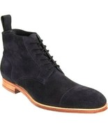 Handmade Ankle Boots Royal Blue Cap Toe Suede Leather Lace Up Contrast S... - $149.99+