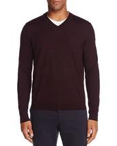 New $88 Bloomingdales 100% Merino Wool Raisin Burundy Red V-NECK Sweater - $9.60