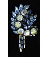 VINTAGE GIANT GORGEOUS AUSTRIA AURORA BOREALIS BLUE PIN - $101.24