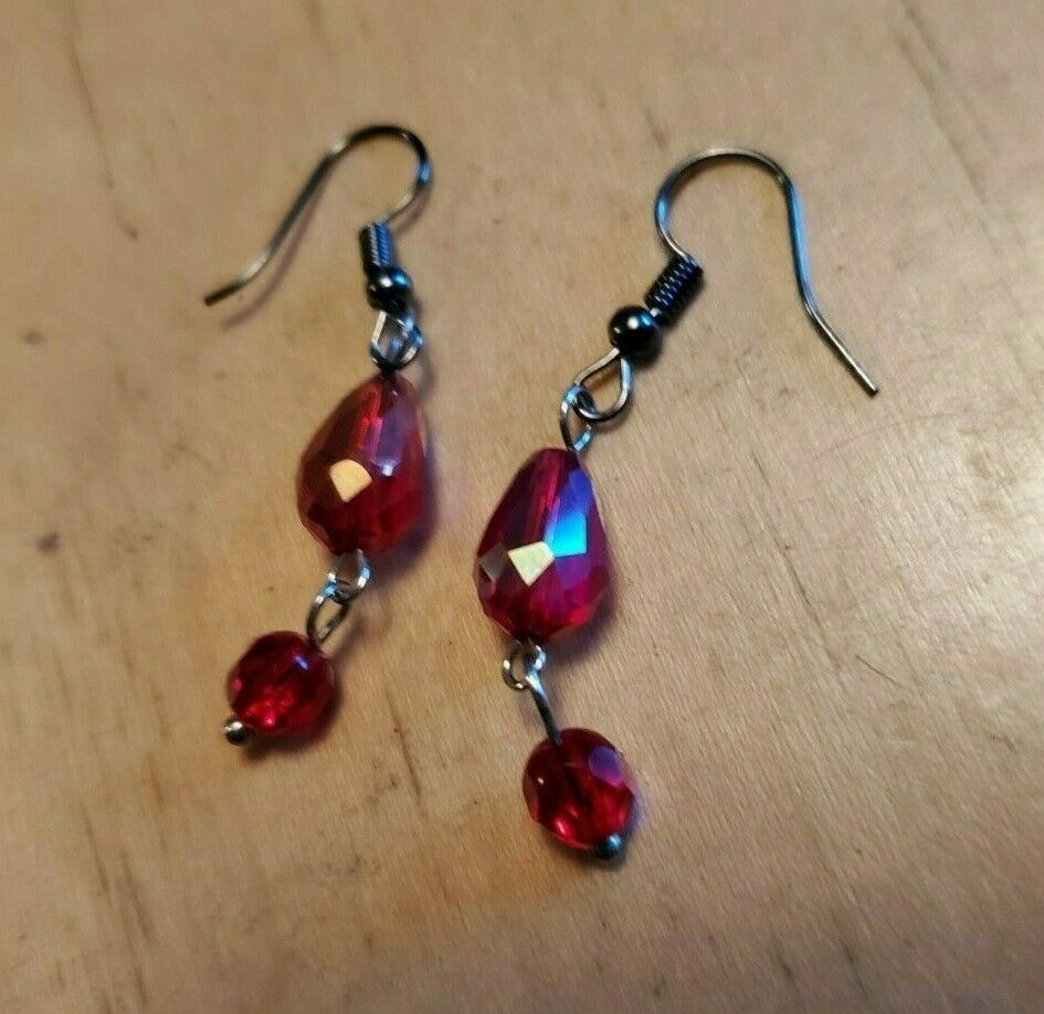 Primary image for Red Glass Bead Hook Dangle Earrings Tony Alexander Jewelry Artisan Fashion Style