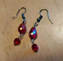 Red Glass Bead Hook Dangle Earrings Tony Alexander Jewelry Artisan Fashi... - $9.90
