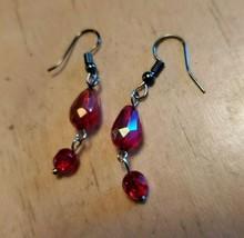 Red Glass Bead Hook Dangle Earrings Tony Alexander Jewelry Artisan Fashion Style - $9.90