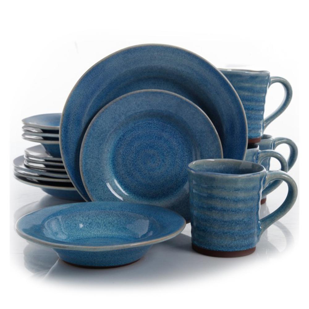Gibson Elite Mariani 16 Piece Round Stoneware Dinnerware Set in Blue