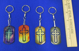 Cross Key Ring Chains Religious Cross Laser Cut Out Dog Tag Style Circle... - $15.99