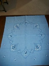 SOFT WASHED LINEN VINTAGE CHIC EMBROIDERED BLUE TABLECLOTH COTTAGE SHABBY - $26.59