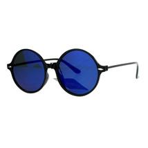 Womens Thin Light Weight Sunglasses Black Round Circle Frame Mirror Lens - $9.95