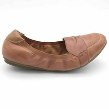 Lands' End Womens Penny Loafer Flat Shoes Brown Leather Slip On Moc Toe 9B - $29.69
