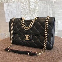 100% AUTH CHANEL BLACK PERFECT EDGE LARGE QUILTED LAMBSKIN 2-WAY FLAP BAG GHW image 3
