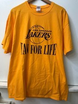 L A Lakers Fan for Life Mens Womens T-shirt Yellow Size XL - $15.95