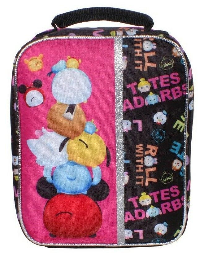 "NEW Disney Pixar Awesome 9.5"" Black Tsum Tsum Lunch Pail Box Bag Container NWT"