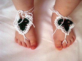 Baby Barefoot Sandals/ Crochet baby sandals- -Baby Flower sandals, croch... - $5.50