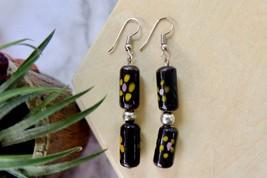 Black Dangle Earrings, Vintage Ceramic Jewelry, Handpainted flower earrings - $8.59