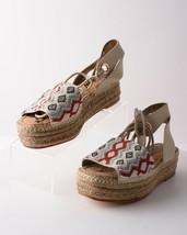 Sam Edelman Womens Neera Espadrille Platform Sandals Sz 8.5 Tan Ivory Ankle Tie - $98.99