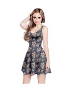 Women's Mexican Skull Print Elastic Stretchy Swing Sleeveless Dress Size XS-5XL
