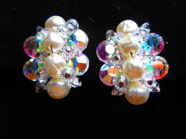 Earrings vintage Aurora borealis cluster button earrings. faux pearl center - $22.00
