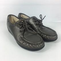 SAS Womens Loafers Shoes Size 8 Metallic Gray Tripad Comfort Tie Up Mocc... - $22.27