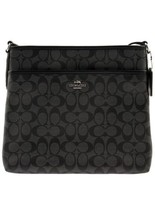 New Coach F58297 Signature File Bag Crossbody Handbag Black Smoke Leathe... - $118.79