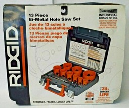 Ridgid 7040 13 Piece Bi-Metal Hole Saw Set Cobalt Industrial Grade Steel USA - $44.55