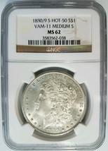 1880/9 S Morgan Silver Dollar NGC MS 62 Vam 11 0/9 Overdate Mint Error Coin - $119.99