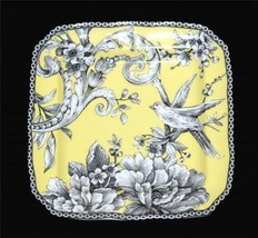 4 ADELAIDE Yellow Toile Floral Bird 222 Fifth Appetizer SQ Scallop Plates NEW - $32.99