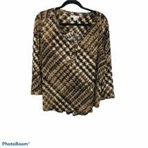 DANA BUCHMAN XL WWomen's TopBlouse Beige / Black Floral 3/4 SLeeves - $12.38
