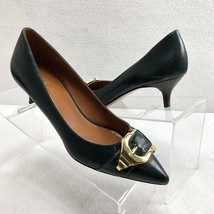 Nine West Women's Kitten Heel Pumps NWIRI Green Leather Gold Buckle Size... - $40.96