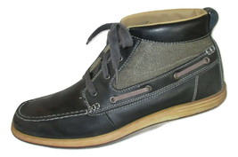 Skechers Boots Size 10.5 Ankle Leather Mens Navy Blue Lace Up Casual - £26.36 GBP